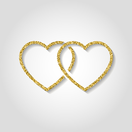 glitter icon. Double heart of gold logo. love symbol. use in decoration, design as the emblem. vector illustration. Logo