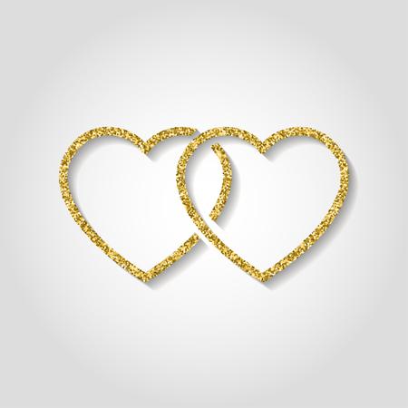 icono de brillo. Doble corazón de oro logo. símbolo de amor utilizar en la decoración, el diseño como emblema. ilustración vectorial Logos