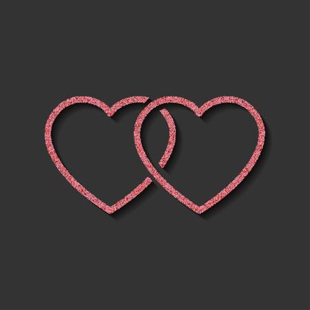 Glitzer-Symbol. doppeltes rosa Herzlogo. Liebessymbol. Verwendung in der Dekoration, Design als Emblem. Vektor-Illustration. Logo