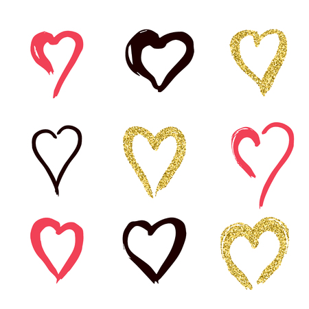 condominium: set of doodle hearts in style, the logo, the symbol of love, gold, pink, black on white background. use in decoration, design, emblem. vector illustration.