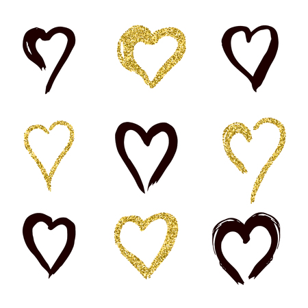 set of doodle hearts in style, the logo, the symbol of love, gold, black. use in decoration, design, emblem. vector illustration.