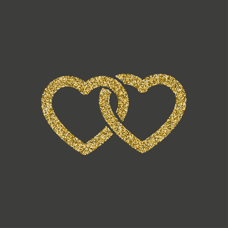 Glitzer-Symbol. Doppeltes Herz des Goldlogos. Liebessymbol. Vektor-Illustration.