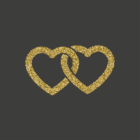 Glitter icon. Double heart of gold logo. love symbol. vector illustration.