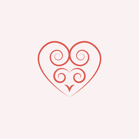 romantic date: linear pink heart with a decorative pattern icon, logo, symbol of love with a shadow on a white background. use in decoration, design, emblem. vector illustration.