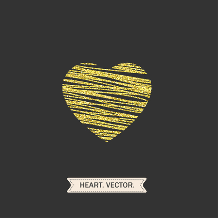 romantic date: golden heart with oblique lines icon, logo, symbol of love on a black background. use in decoration, design, emblem. vector illustration.