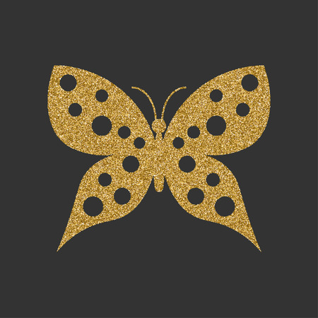 butterfly isolated: Golden butterfly with decorative round pattern. Vector illustration.