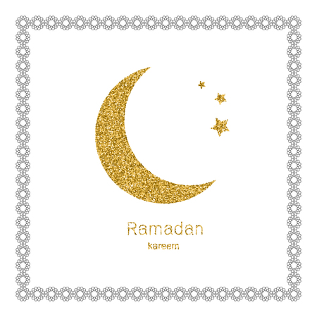 ramadan kerim white arabic bezel and gold glitter moon template