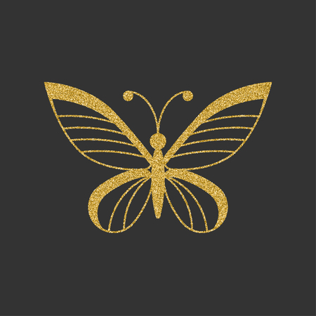 Golden butterfly with elegant decorative pattern. Vector illustration.