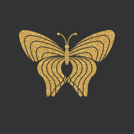 butterfly isolated: Golden butterfly with decorative linear pattern. Vector illustration.