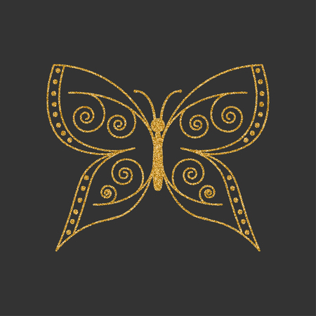 butterfly isolated: Golden butterfly with elegant decorative pattern. Vector illustration.