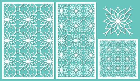 Set of decorative panels laser cutting. Template geometric pattern. The ratio of 2: 3, 1: 2, 1: 1, seamless. Vector illustration. Illustration