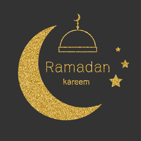 Ramadan Kerim, Arabic background with gold glitter moon  Template design for greeting card, banner, poster, invitation.