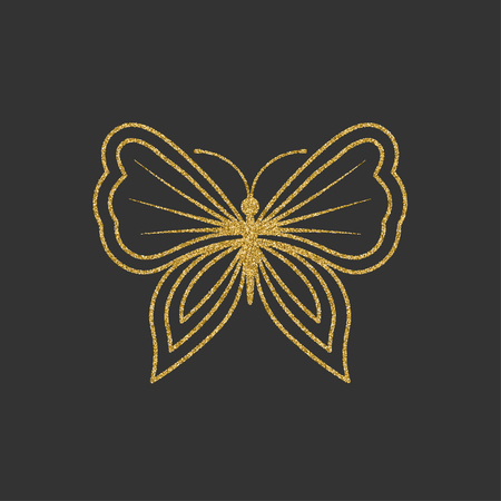 butterfly isolated: Decorative gold butterfly. An elegant silhouette. Item for logo. Vector illustration. Illustration