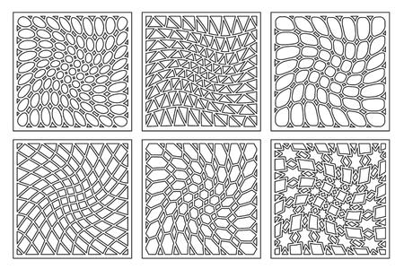 Définir l'ornement géométrique de modèle. Carte pour la découpe au laser. Élément décoratif. Motif géométrique. Illustration vectorielle Banque d'images - 88028728