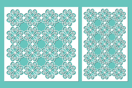 Set decorative panels laser cutting. wooden panel. Modern elegant pattern of hearts. Ratio 1:2, 1:1. Vector illustration. 矢量图像