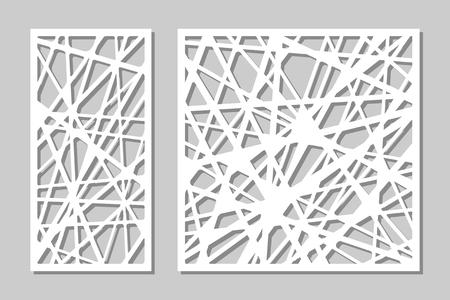 Définir la découpe au laser du panneau décoratif. panneau de bois. Élégant modèle abstrait géométrique moderne. Ratio 1: 2, 1: 1. Illustration vectorielle Vecteurs