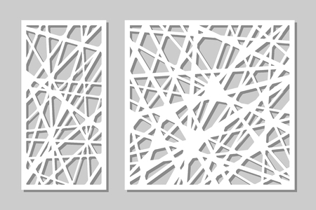 Set decorative panel laser cutting. wooden panel. Elegant modern geometric abstract pattern. Ratio 1:2, 1:1. Vector illustration. Stock Illustratie