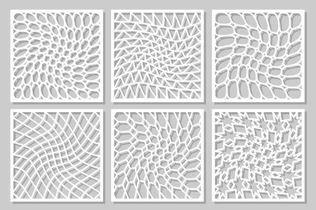 パターンの幾何学的な飾りを設定します。レーザー切断のためのカード。要素の装飾的なデザイン。幾何学的なパターン。ベクトルの図。  イラスト・ベクター素材