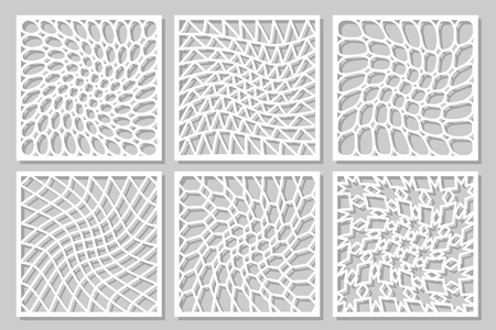 패턴 기하학적 장식을 설정합니다. 레이저 커팅 용 카드. 요소 장식 디자인입니다. 형상 패턴입니다. 벡터 일러스트 레이 션.