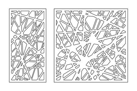 Impostare l'ornamento geometrico del modello. Scheda per il taglio laser. Elemento decorativo design. Modello geometrico. Illustrazione vettoriale. Vettoriali