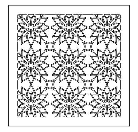 Pattern geometric ornament. Card for laser cutting. Element decorative design. Geometric pattern. Vector illustration. Vettoriali