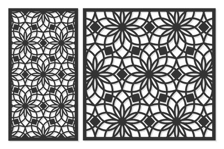 Set di carte da tagliare. Pannelli vettoriali per il taglio laser. Il rapporto 1: 2, 2: 3, 3: 4, 1: 3, rotondo, ottagono, quadrato, cuore. Taglio silhouette con motivi geometrici. Utilizzato per partizioni openwork, pannelli, stampa, taglio laser, stencil. Archivio Fotografico - 89491339