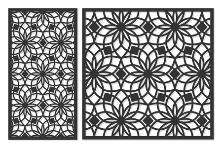 Set of cards to cut. Vector panels for laser cutting. The ratio 1:2, 2:3, 3:4, 1:3, round, octagon, square, heart. Cut silhouette with geometric patterns. Used for openwork partitions, panels, printing, laser cutting, stencil. Stok Fotoğraf - 89491339