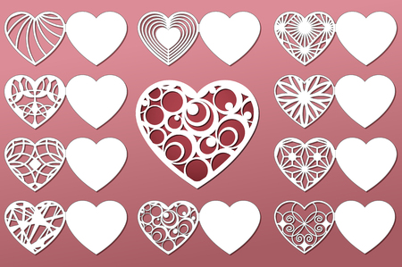 Set Of Romantic Greeting Cards For Laser Cutting Suitable For