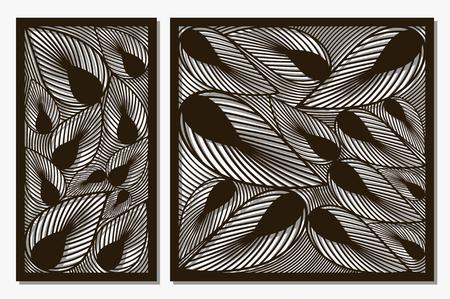 Set decorative panels laser cut. Art silhouette design. Ratio 1:1, 1:2. Vector illustration.  イラスト・ベクター素材