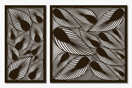 Set decorative panels laser cut. Art silhouette design. Ratio 1:1, 1:2. Vector illustration. Çizim
