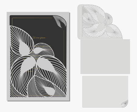 A vector decorative envelope and postcard for laser cutting. Silhouette design. possible to use for any or various events invitations, presentations Çizim