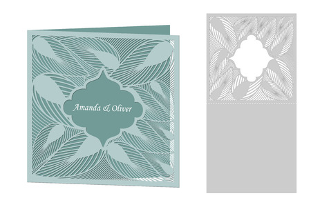 Vector decorative postcard for laser cutting. Silhouette design. possible to use for birthday invitations, presentations, greetings, holidays, celebrations, save the date wedding. Vettoriali