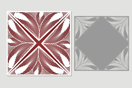 Vector decorative envelope and postcard for laser cutting. Silhouette design. possible to use for birthday, invitations, presentations, greetings, holidays, celebrations, save the date, wedding. Size envelope 1:1.