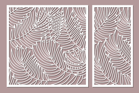 Set decorative card for cutting with palm leaves pattern. Illustration