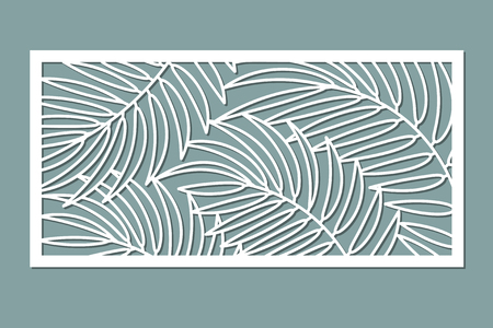 Decorative card for cutting. Palm leaf pattern. Illustration