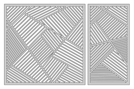 Set template for cutting. Abstract linear pattern. Laser cut vector illustration.