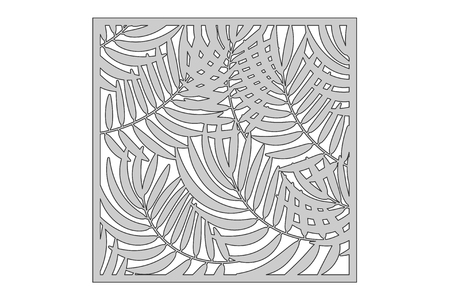 Template for cutting. Palm leaves pattern. Laser cut vector illustration.