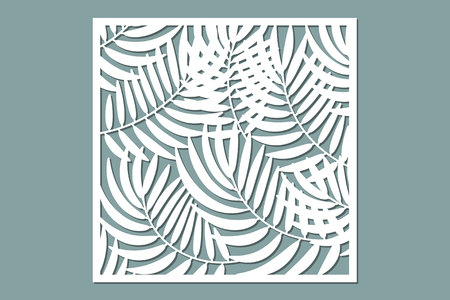 Decorative card for cutting. Palm leaf pattern. Laser cut. Ratio 1:1. Vector illustration.