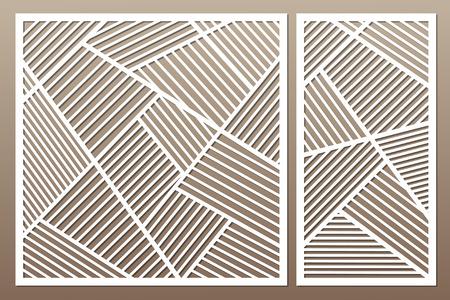 Set decorative card for cutting. Geometric line pattern. Laser cut vector illustration.