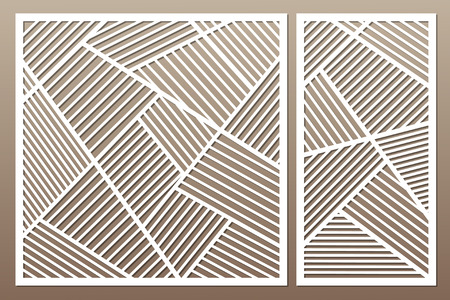 Set decorative card for cutting. Geometric line pattern. Laser cut vector illustration.