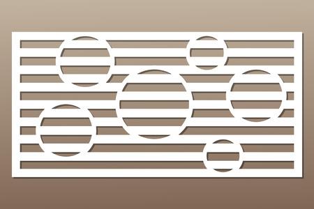 切断のための装飾カード。円線パターン。レーザーカット。比率1:2。ベクトルイラスト。