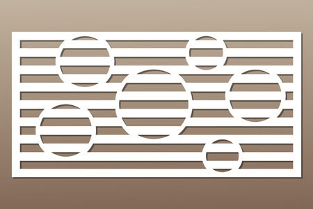 Decorative card for cutting. Circle line pattern. Laser cut. Ratio 1:2. Vector illustration.