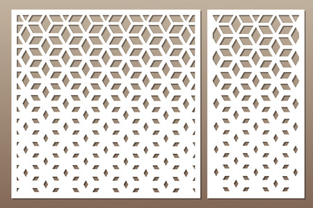 Set decorative card for cutting. Square pattern. Laser cut. Ratio 1:1, 1:2. Vector illustration.
