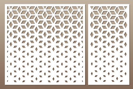 Set dekorative Karte zum Schneiden. Quadratisches Muster. Laserschnitt. Verhältnis 1: 1, 1: 2. Vektor-illustration