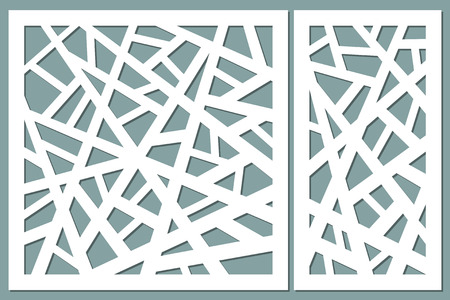 Set decorative card for cutting. Abstract lines pattern. Laser cut. Ratio 1:1, 1:2. Vector illustration. Vettoriali