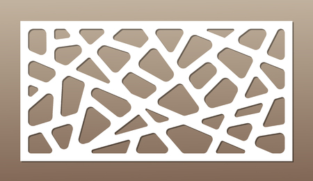 Decorative card for cutting. Abstract lines pattern. Laser cut. Ratio 1:2. Vector illustration.