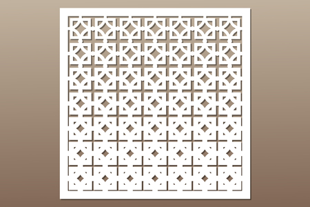 Decorative card for cutting. Square repeat pattern. Laser cut.
