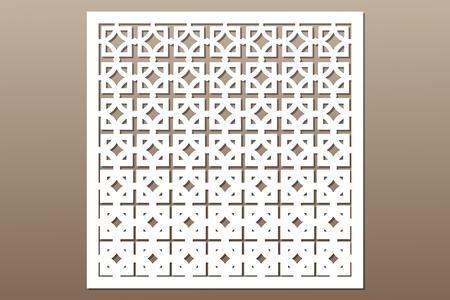 Decorative card for cutting. Square repeat pattern. Laser cut.