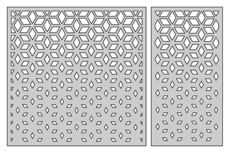 Set template for cutting. Square mesh pattern. Laser cut. Ilustração