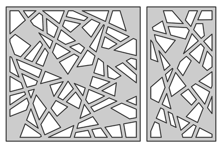 Set template for cutting. Abstract line pattern. Laser cut.